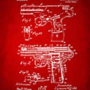 1911 Automatic Firearm Patent Artwork - Red Art Print