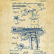1911 Automatic Firearm Patent Artwork - Vintage Art Print