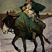 1913 Jugend Art Print Woman Riding Dunkey Suckling Baby Hard Tim Art Print