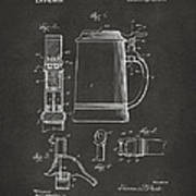 1914 Beer Stein Patent Artwork - Gray Art Print