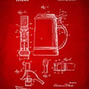 1914 Beer Stein Patent Artwork - Red Art Print by Nikki Marie Smith