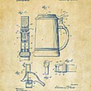 1914 Beer Stein Patent Artwork - Vintage Art Print