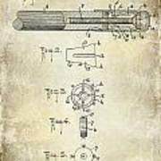 1915 Billiard Cue Patent Drawing  Art Print