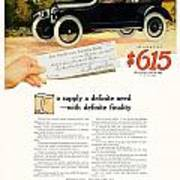 1916 - Willys Overland Roadster Automobile Advertisement - Color Art Print