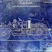 1916 Automobile Fire Apparatus Patent Drawing Lt Blue Art Print