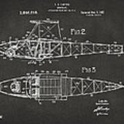 1917 Glenn Curtiss Aeroplane Patent Artwork 2 - Gray Art Print