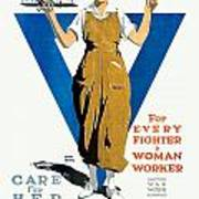 1918 - Ywca Patriotic Poster - World War One - Color Art Print