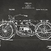 1919 Motorcycle Patent Artwork - Gray Art Print