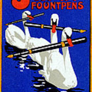 1920 Swan Fountain Pens Art Print