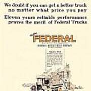 1921 - Federal Truck Advertisement - Color Art Print