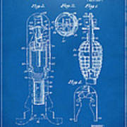 1921 Explosive Missle Patent Blueprint Print by Nikki Marie Smith
