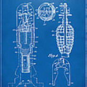 1921 Explosive Missle Patent Minimal Blueprint Art Print by Nikki Marie Smith