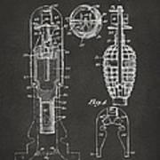 1921 Explosive Missle Patent Minimal Gray Art Print