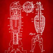 1921 Explosive Missle Patent Minimal Red Art Print