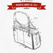1921 Trout Basket Patent Drawing - Red Art Print