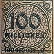 1923 100 Million Mark German Stamp Art Print