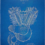 1923 Harley Davidson Engine Patent Artwork - Blueprint Print by Nikki Smith