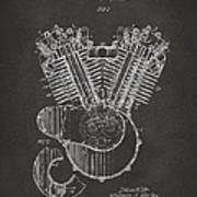 1923 Harley Engine Patent Art - Gray Art Print