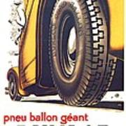 1924 - Dunlop Tires French Advertisement Poster - Color Art Print