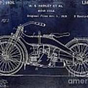 1924 Harley Davidson Motorcycle Patent  Art Print