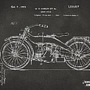 1924 Harley Motorcycle Patent Artwork - Gray Art Print