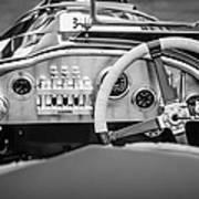 1925 Aston Martin 16 Valve Twin Cam Grand Prix Steering Wheel -0790bw Art Print