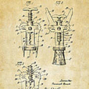 1928 Cork Extractor Patent Art - Vintage Black Art Print