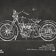 1928 Harley Motorcycle Patent Artwork - Gray Art Print by Nikki Marie Smith