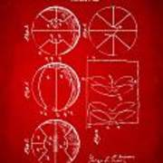 1929 Basketball Patent Artwork - Red Art Print