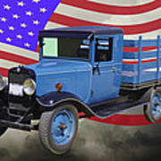 1929 Blue Chevy Truck And American Flag Art Print