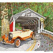 1929 Chrysler 65 Covered Bridge Art Print