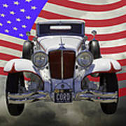1929 Cord 6-29 Cabriolet Antique Car With American Flag Art Print