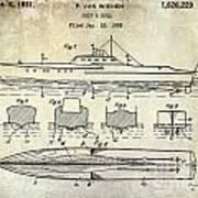 1930 Ship's Hull Patent Drawing Art Print