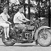 1930s Motorcycle Touring Art Print by Daniel Hagerman