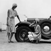 1930s Two Women Confront An Automobile Art Print