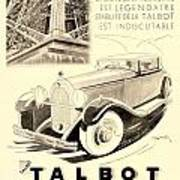 1931 - Talbot French Automobile Advertisement Art Print