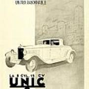 1931 - Unic 8 French Automobile Advertisement Art Print