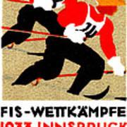 1933 Austrian Ski Race Poster Art Print