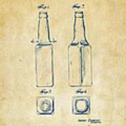 1934 Beer Bottle Patent Artwork - Vintage Art Print