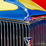 1934 Ford Deluxe Coupe Grille Emblems Art Print