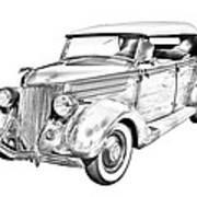 1936 Ford Phaeton Convertible Illustration  Art Print