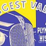 1937 - Plymouth Automobile Advertisement - Color Art Print