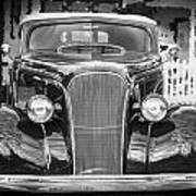 1937 Chevrolet Custom Convertible Bw Art Print