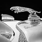 1937 Jaguar Prototype Hood Ornament -386bw55 Art Print