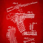 1937 Police Remington Model 8 Magazine Patent Artwork - Red Art Print by Nikki Marie Smith