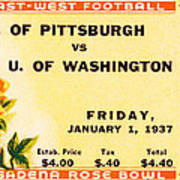 1937 Rose Bowl Ticket Art Print