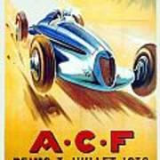 1938 - Automobile Club De France Poster - Reims - George Ham - Color Art Print