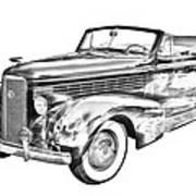 1938 Cadillac Lasalle Illustration Art Print