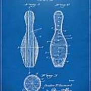 1939 Bowling Pin Patent Artwork - Blueprint Art Print