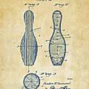 1939 Bowling Pin Patent Artwork - Vintage Art Print